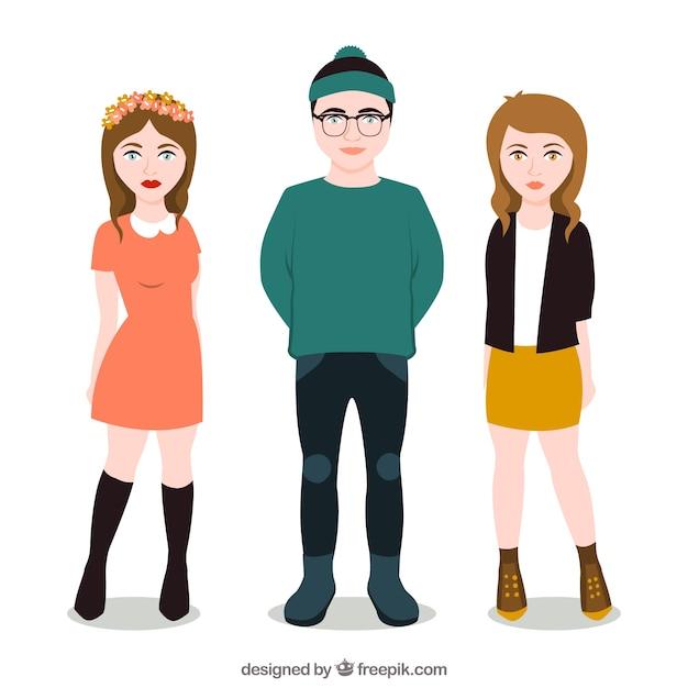 Modern teenagers illustration