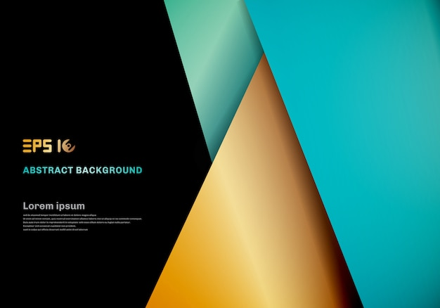 Modern Template Blue Gold Color Geometric Overlap Layer On