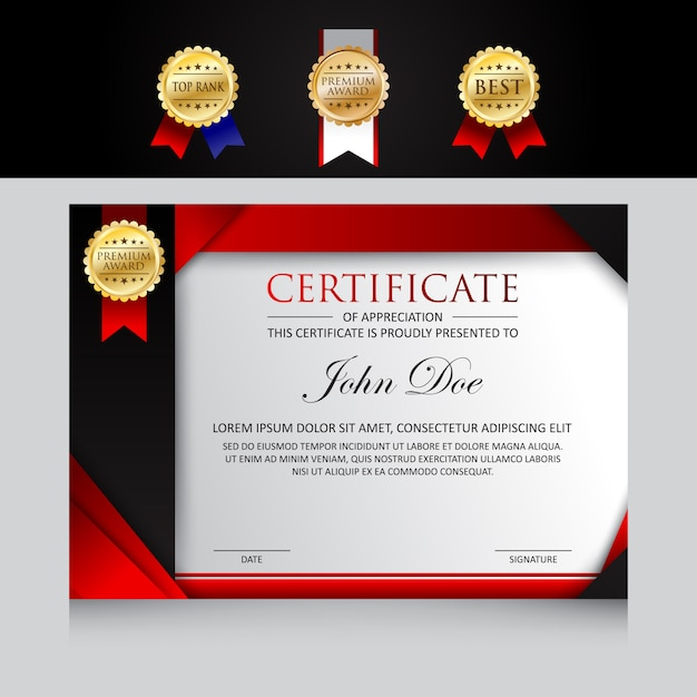 Modern template certificate design with badge options Premium Vector