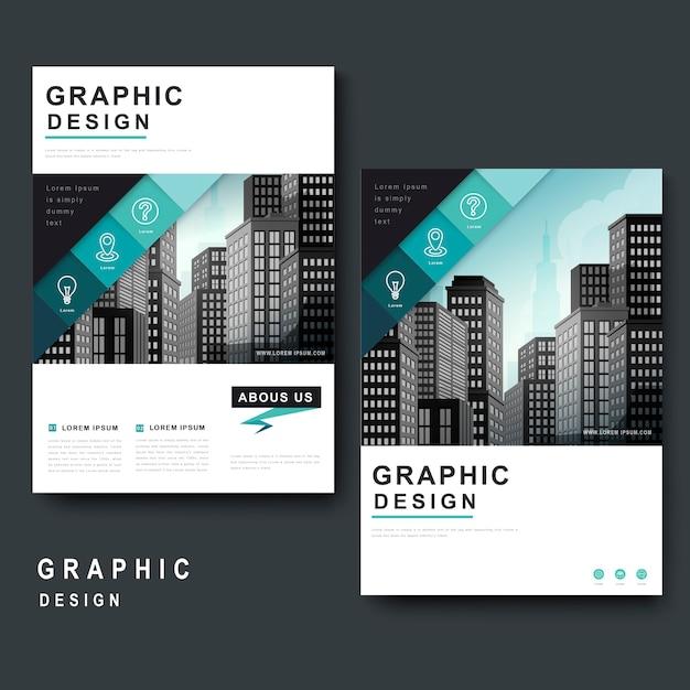Современный дизайн шаблона с городским пейзажем и геометрическими элементами Premium векторы