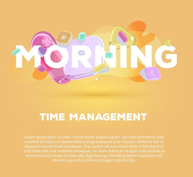 Современный шаблон с яркими кристаллическими элементами и словом утро на желтом фоне с тенью, названием и текстом. Premium векторы