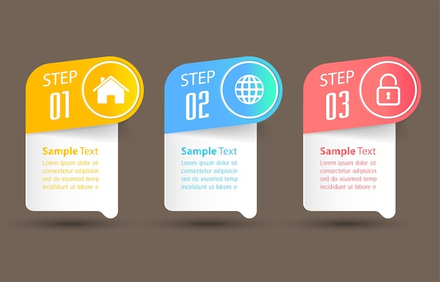 Modern text box template, banner infographics Premium Vector