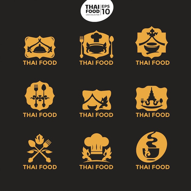 Modern thai food gold logo template for culinary business and corporate Premium Vector
