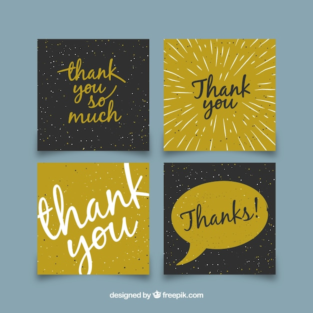 Modern Thank You Card Collection Vector Free Download