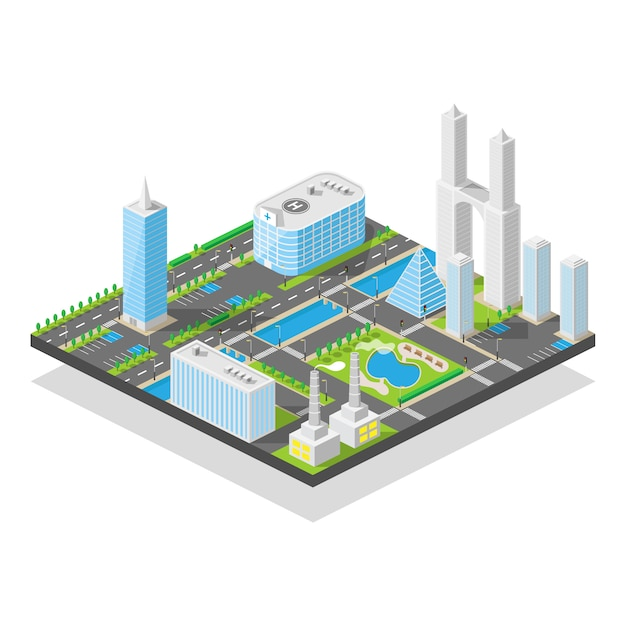 Modern three-dimensional city isometric, skyscrapers office streets with urban traffic and trees in nature park,  illustration Premium Vector