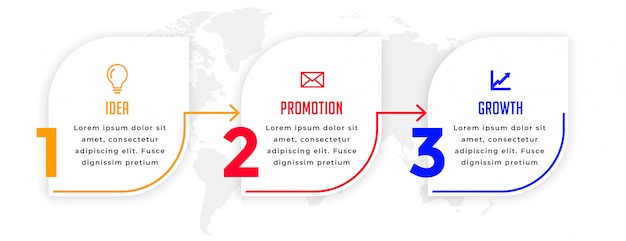 Modern three steps business infographic directional template Free Vector