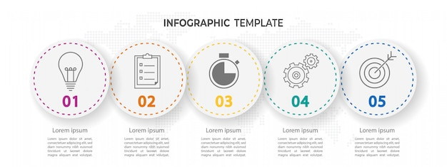 Modern timeline circle infographic 5 options Premium Vector