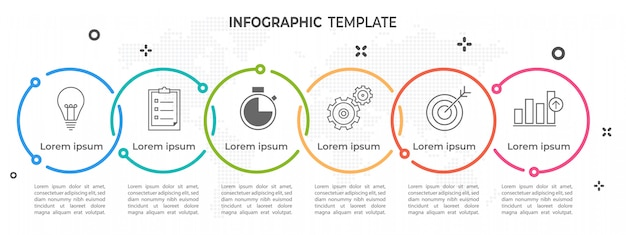 Modern timeline circle infographic 6 opttions. Premium Vector
