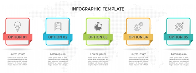 Modern timeline infographic 5 options. Premium Vector