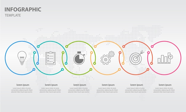 Modern timeline infographic 6 options Premium Vector