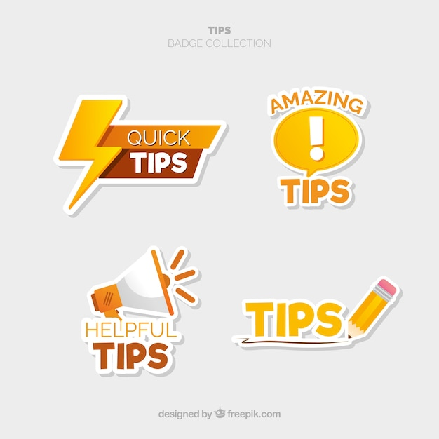 Modern tips label collection with flat design Free Vector