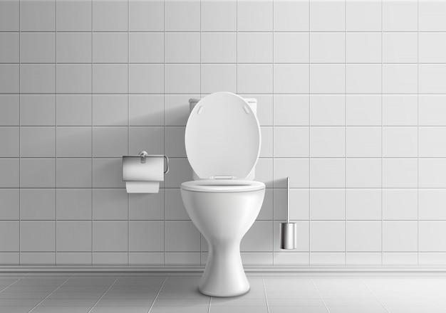 Современный интерьер комнаты туалета 3d реалистичные вектор макет с кафельными стенами и полом Бесплатные векторы