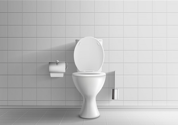 Modern toilet room interior 3d realistic vector mockup with tiled walls and floor Free Vector