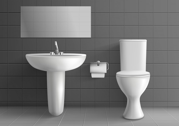 Modern toilet room interior Free Vector