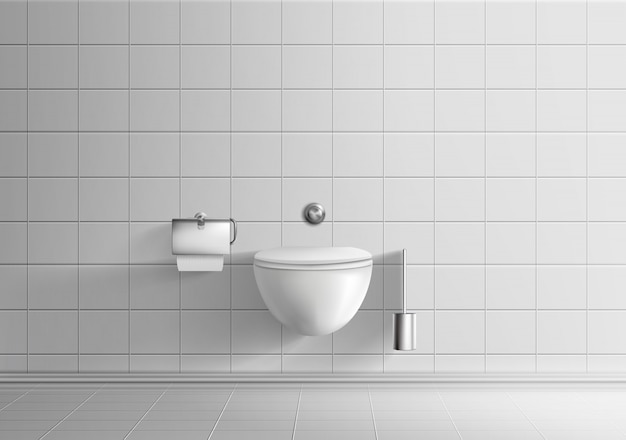 Modern toilet room minimalistic interior realistic vector mockup with white tiled walls and floor Free Vector