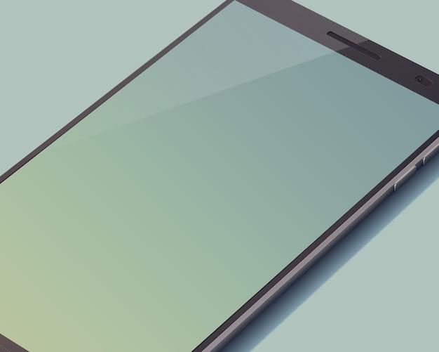 큰 빈 화면이 그림에 가득 차 있지 않은 회색에 현대적인 터치 스크린 스마트 폰 개념 무료 벡터