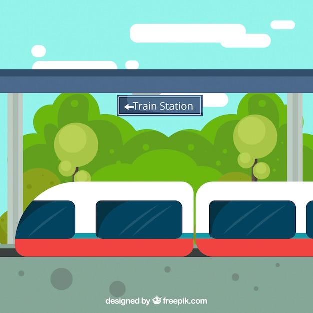 Modern train background in flat design
