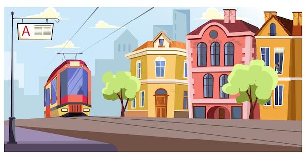 Modern tram running on rails in city illustration Free Vector