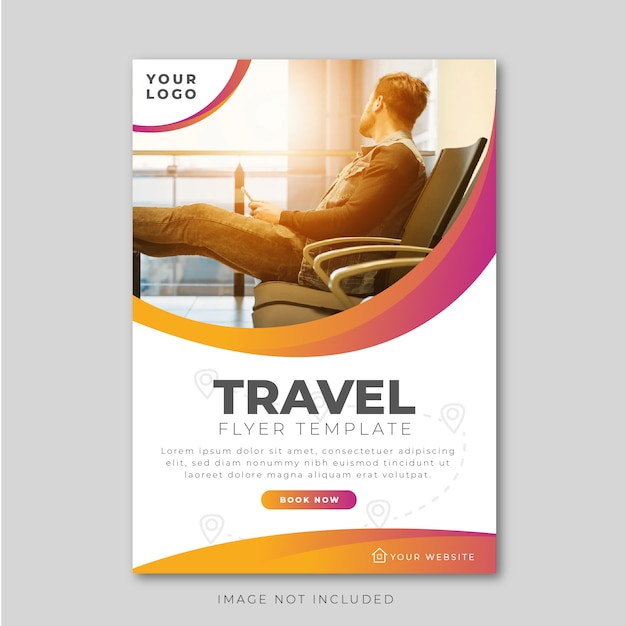 Modern travel flyer design template Premium Vector