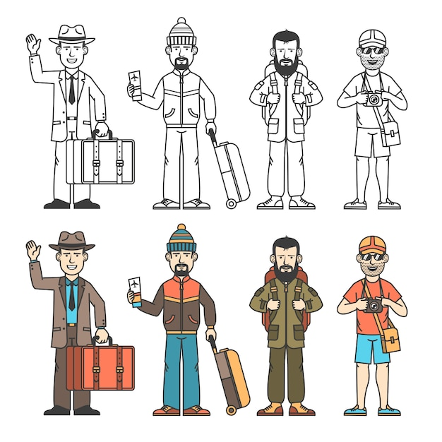 Modern travelers in various clothes with different baggage Premium Vector