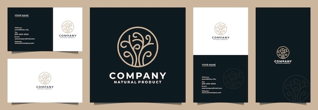 Modern tree logo with business card and name card Premium Vector