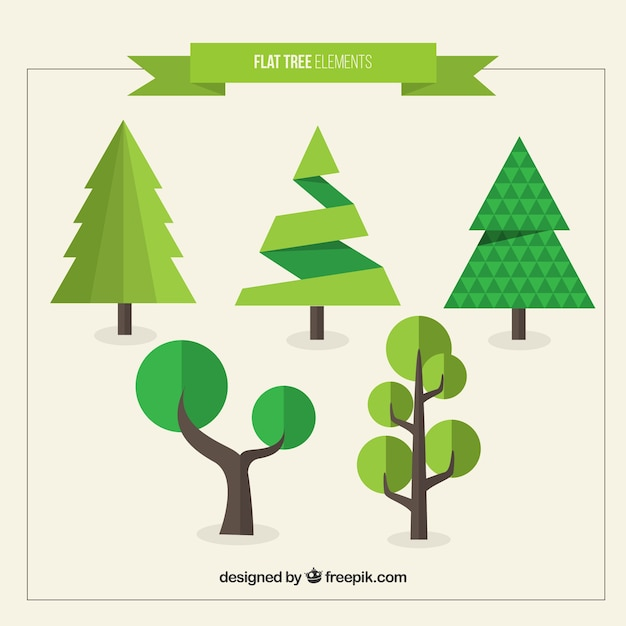 Modern trees pack in flat design