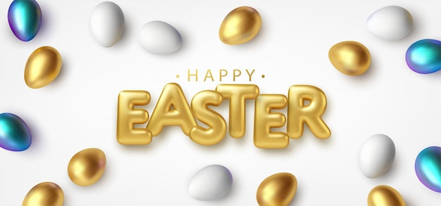 Modern trendy golden metallic shiny typography happy easter on a background of easter eggs. 3d realistic lettering for the design of flyers, leaflets, posters and cards vector illustration eps10 Free Vector