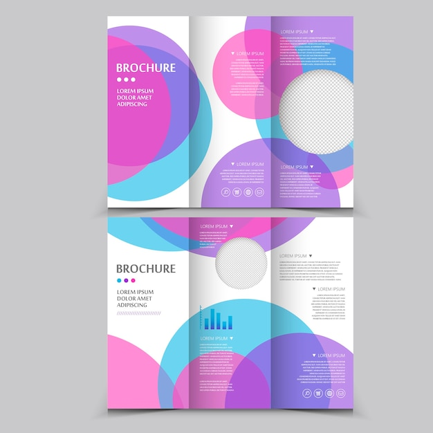 Modern tri-fold brochure template design with circular elements Premium Vector