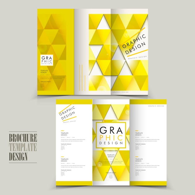 Modern tri-fold brochure template design with triangle elements Premium Vector
