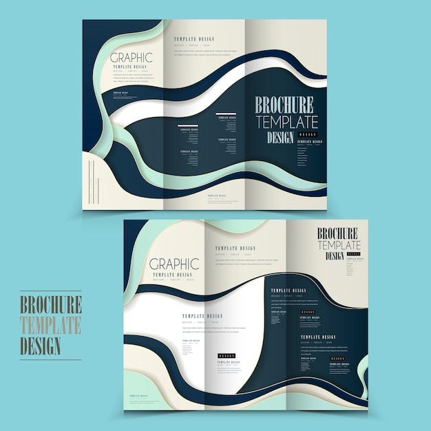 Modern tri-fold brochure template design with wave elements Premium Vector