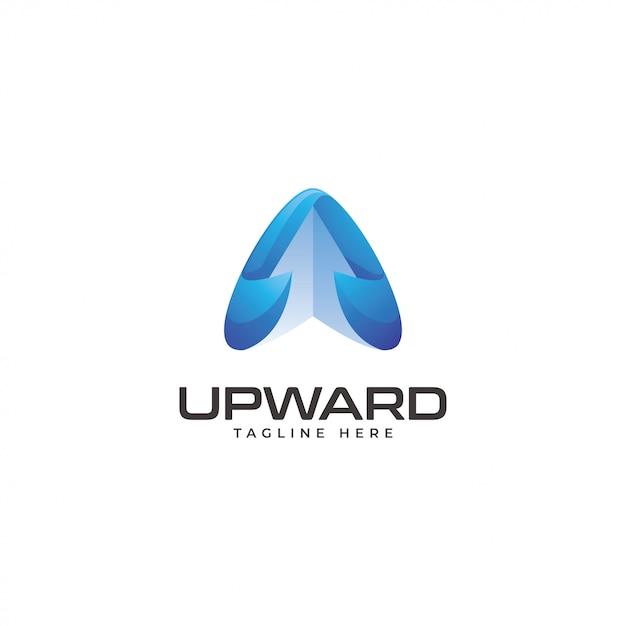 Modern triangle arrow upward logo Premium Vector