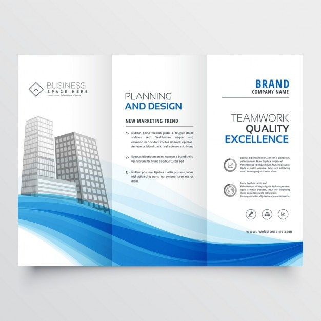 modern trifold brochure layout template with blue wave vector free