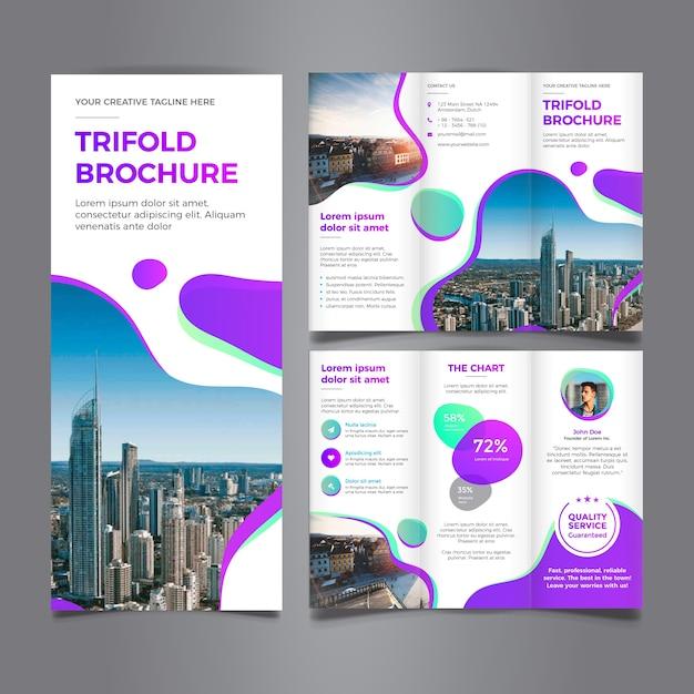 Modern trifold brochure template Premium Vector