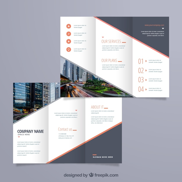 Modern triptych template Free Vector