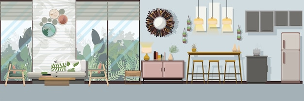 modern tropical furniture. Modern Tropical Living Room With Furniture Premium Vector E