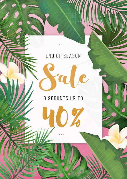 Modern tropical summer sale poster Free Vector