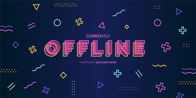 Modern twitch background design with memphis elements vector template Free Vector
