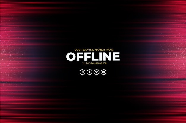 Modern twitch background with abstract red lines offline Free Vector