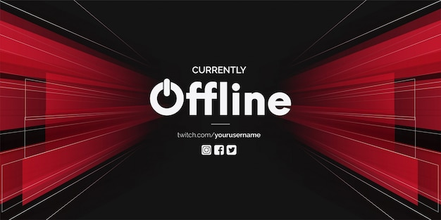 Modern twitch offline with 3d shapes Free Vector