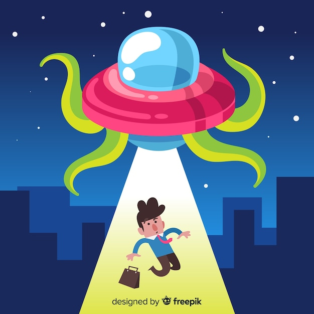 Modern ufo abduction concept with flat design Free Vector