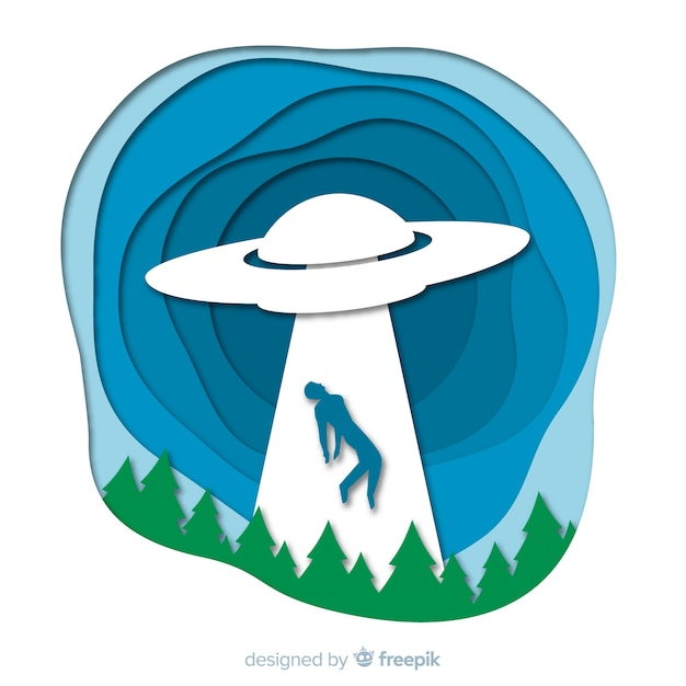Modern ufo abduction concept with origami style Free Vector