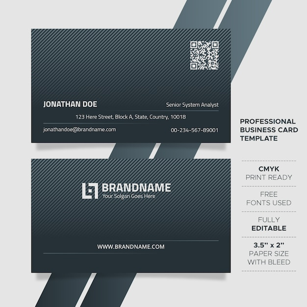 Modern unique business card template Premium Vector