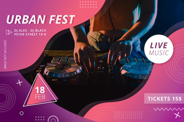 Modern urban festival party flyer Free Vector