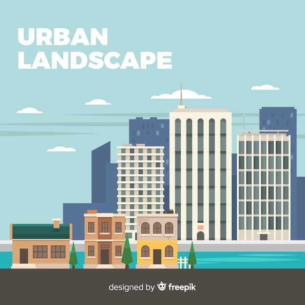 Modern urban landscape with flat design Free Vector