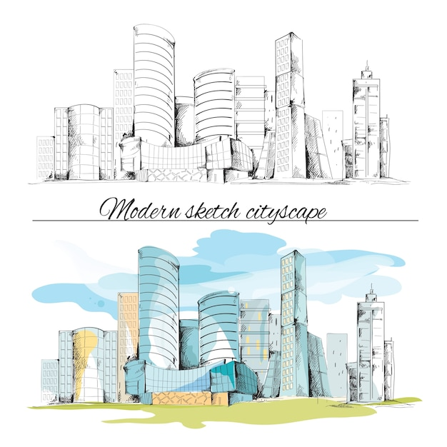 Modern urban sketch building hand drawn cityscape set vector illustration Free Vector