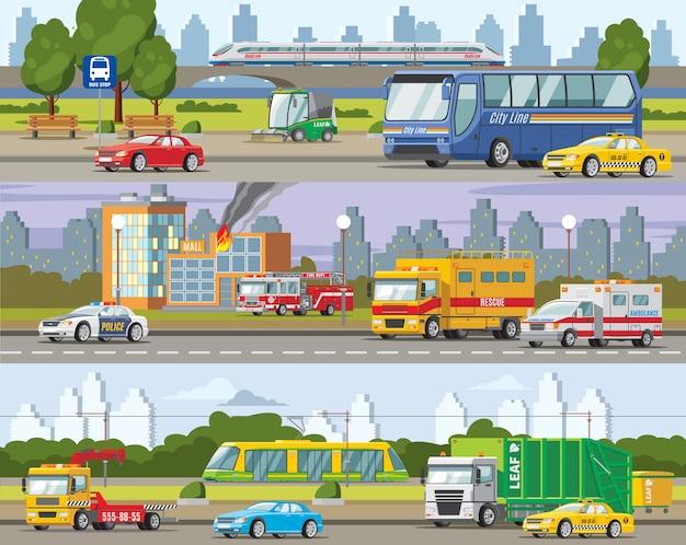 Bandiere orizzontali di traffico urbano moderno Vettore gratuito