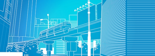 Modern urban train thin line cityscape of railway Premium Vector