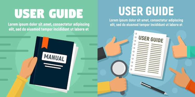 Modern user guide banner set Premium Vector