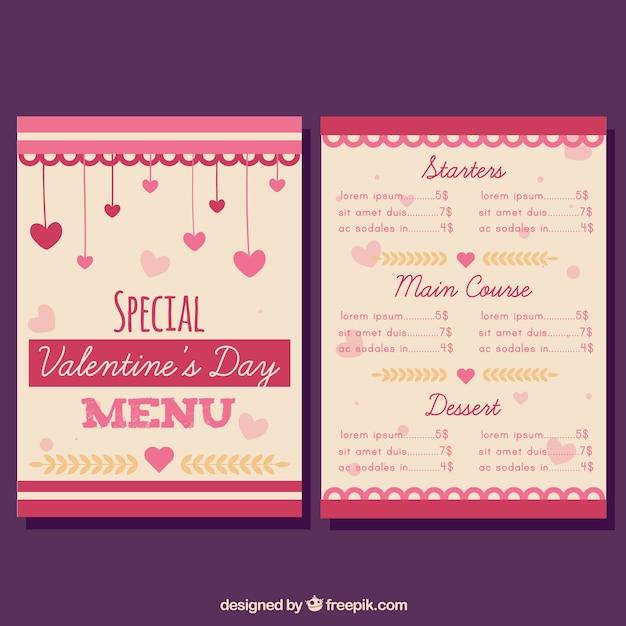Modern valentine menu concept Free Vector