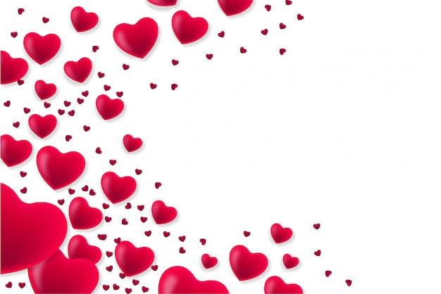 Modern valentine's day background with hearts Free Vector